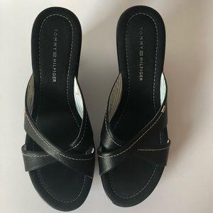 Tommy Hilfiger black wedges shoes women's 8 1/2